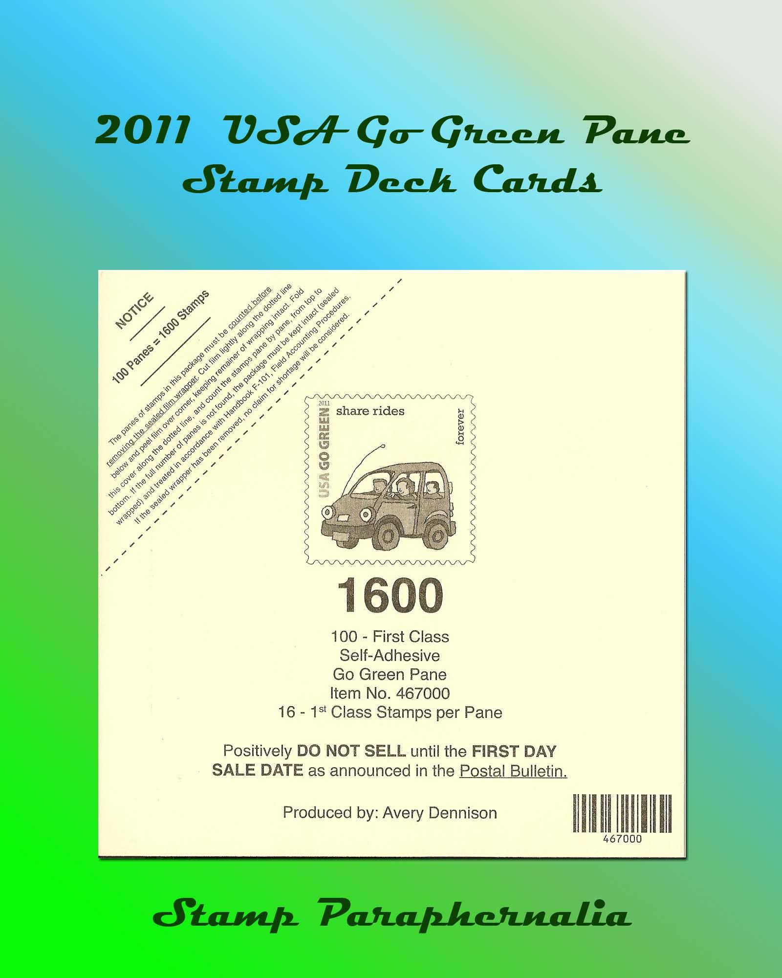 4524 2011 Go Green Stamp Top Deck Card Ebay